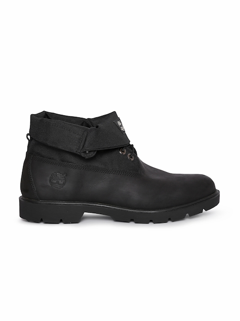 Timberland Men Black Solid Mid-Top Flat Boots