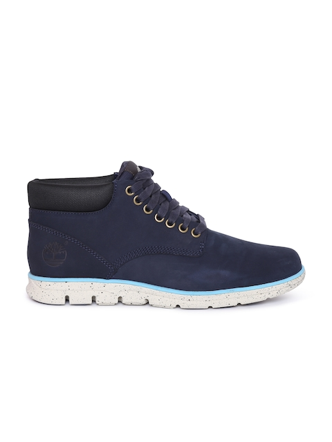 Timberland Men Navy Solid Mid-Top Flat Boots