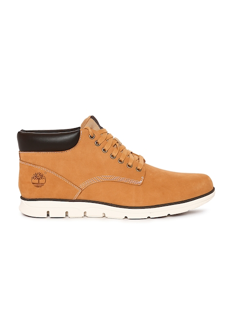 Timberland Men Tan Brown Leather Mid-Top Flat Boots