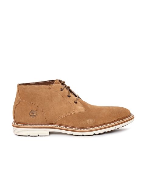 Timberland Men Brown Leather Mid-Top Flat Boots