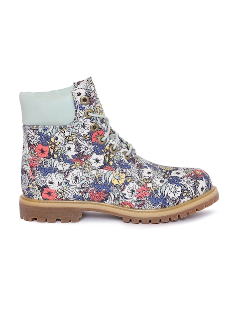 Timberland Women Off-white Printed High-Tops Flat Boots