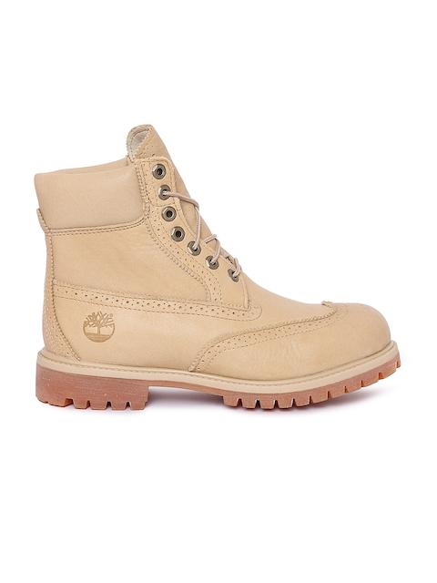 Timberland Men Beige Perforations High-Tops Flat Boots