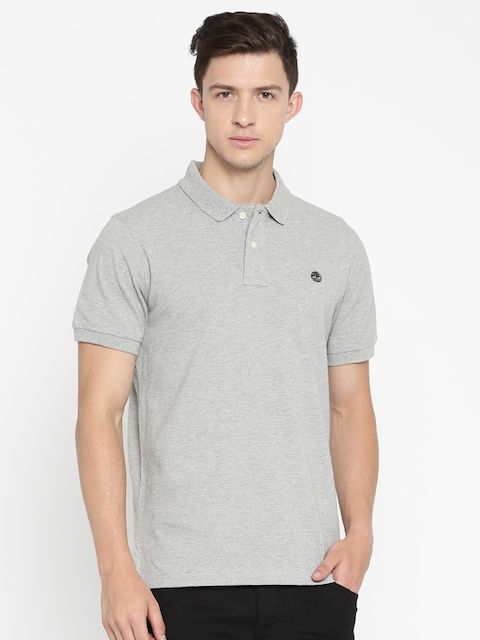 Timberland Grey Melange Solid Regular Fit Polo Collar T-shirt