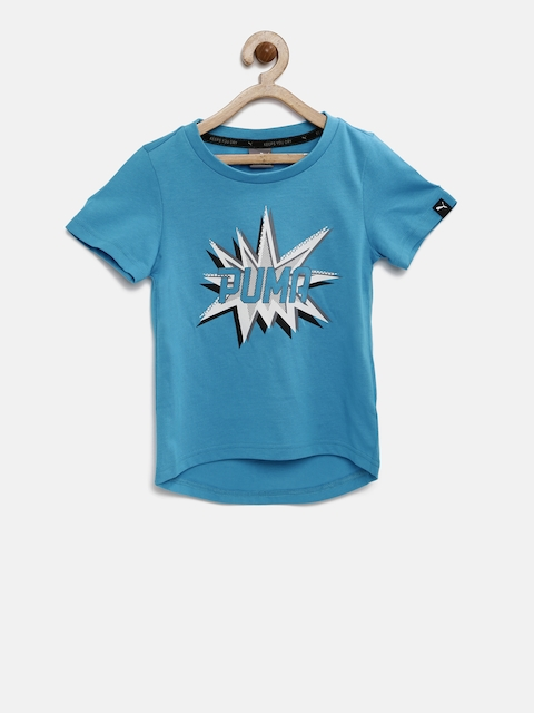 Puma Boys Blue Pow Printed Round Neck T-shirt  available at myntra for Rs.359
