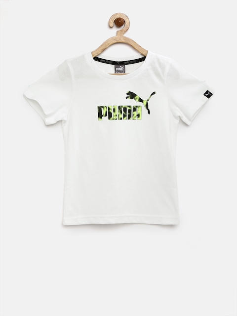Puma Boys White Hero Printed Round Neck T-shirt  available at myntra for Rs.359