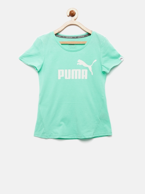 Puma Girls Mint Green Style ESS Logo Printed Round Neck T-shirt  available at myntra for Rs.359