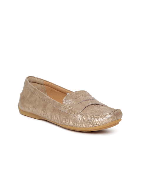 Clarks Women Gold-Toned Leather Loafers