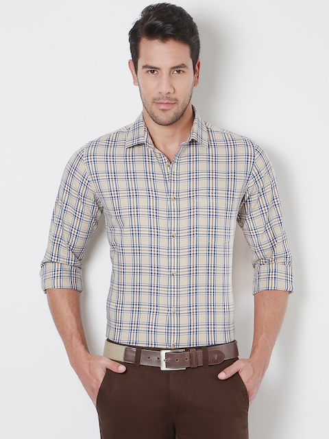 Peter England Men Beige & Blue Slim Fit Checked Casual Shirt