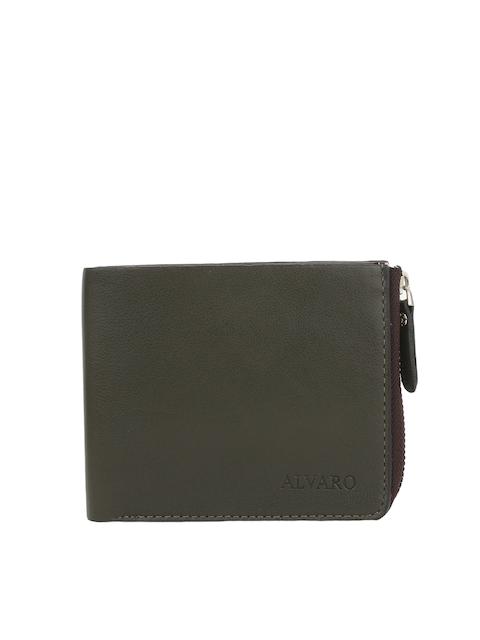 Alvaro Castagnino Men Olive Green Genuine Leather Zip-Around Wallet