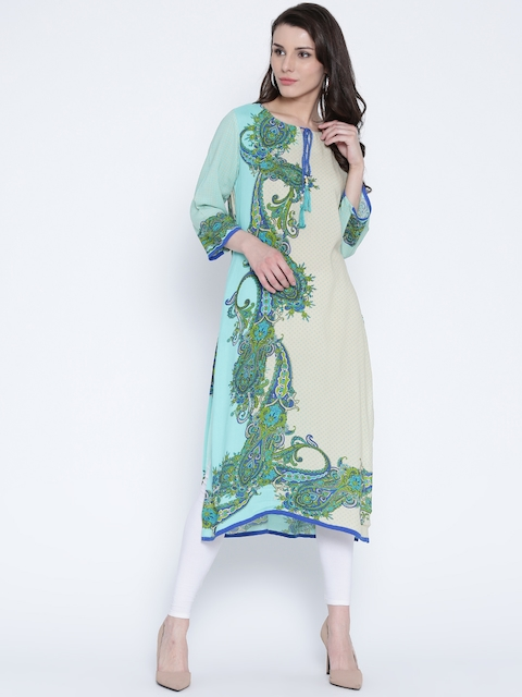 Shree Women Beige & Blue Printed Straight Kurta  available at myntra for Rs.399