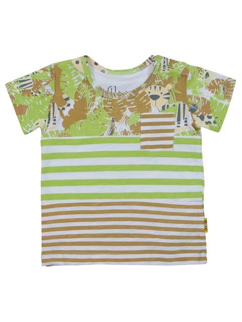 Gini and Jony Boys Green Striped Round Neck T-shirt