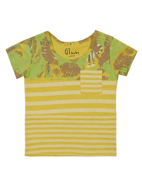 Gini and Jony Boys Yellow Striped Round Neck T-shirt