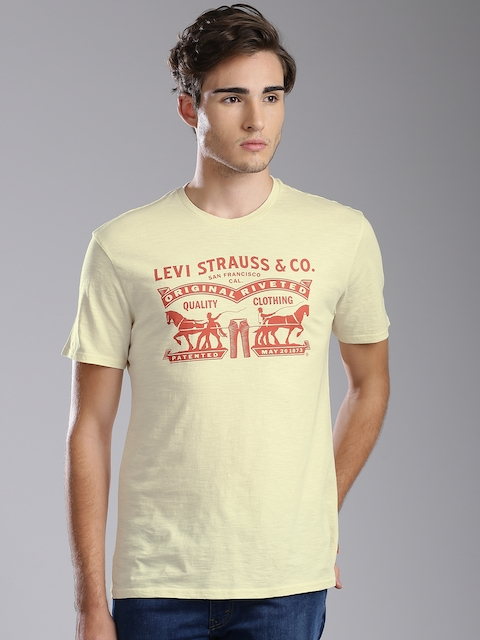 Levis Men Cream Printed Round Neck T-shirt  available at myntra for Rs.549