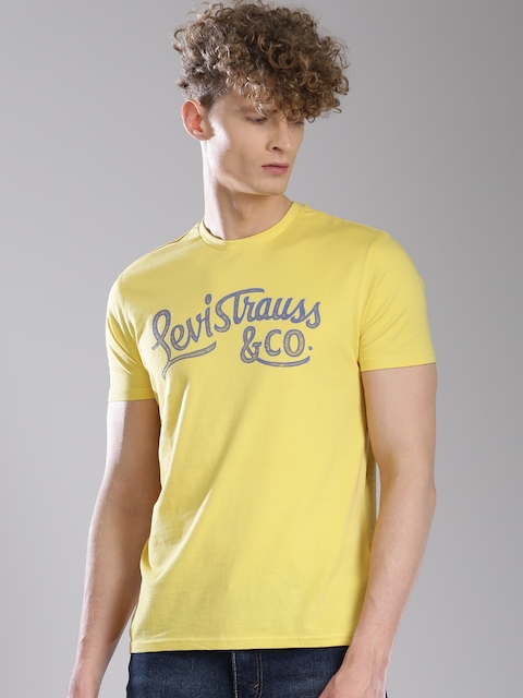 Levis Men Yellow Printed T-shirt  available at myntra for Rs.449
