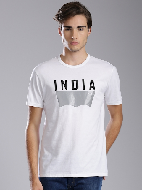 Levis Men White Printed Round Neck T-shirt  available at myntra for Rs.599