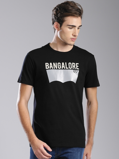 Levis Men Black Printed Round Neck T-shirt  available at myntra for Rs.599