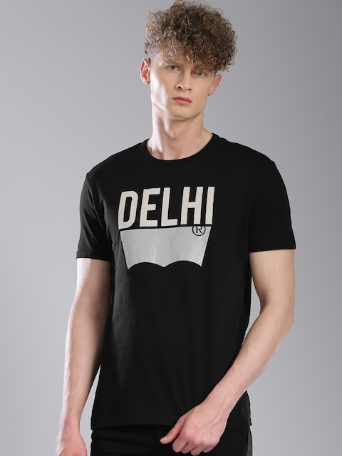 Levis Men Black Printed T-shirt  available at myntra for Rs.599