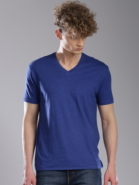 Levis Men Blue Solid V-Neck T-shirt  available at myntra for Rs.499