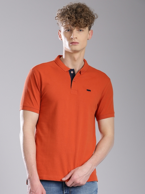 Levis Men Rust Orange Solid Polo T-shirt  available at myntra for Rs.659
