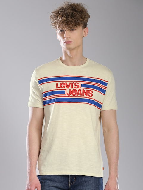 Levis Men Cream Printed T-shirt  available at myntra for Rs.549