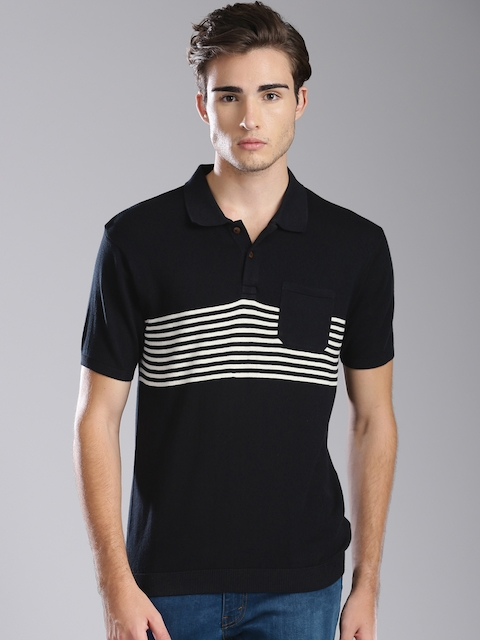 Levis Men Black Striped Polo T-shirt