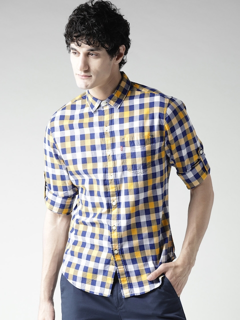 Levis Men Yellow Slim Fit Checked Casual Shirt