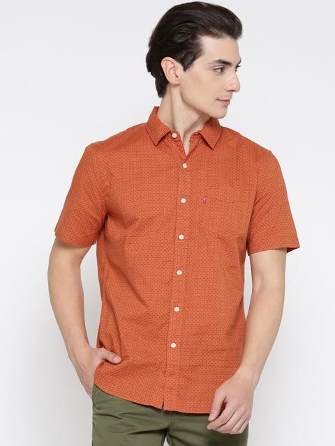 Levis Men Orange Slim Fit Printed Casual Shirt