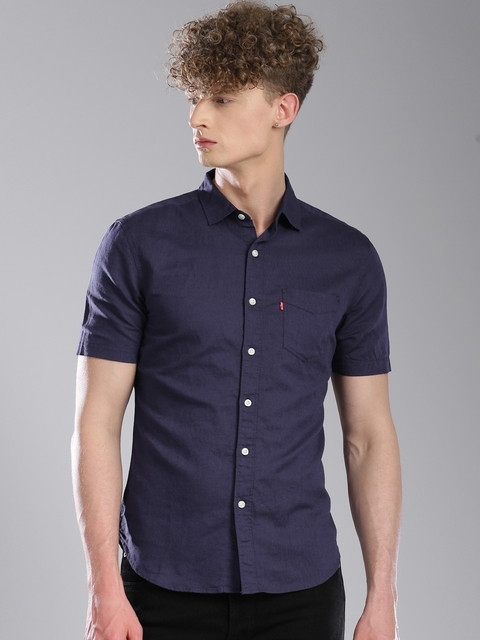 Levis Men Navy Blue Slim Fit Solid Linen Casual Shirt