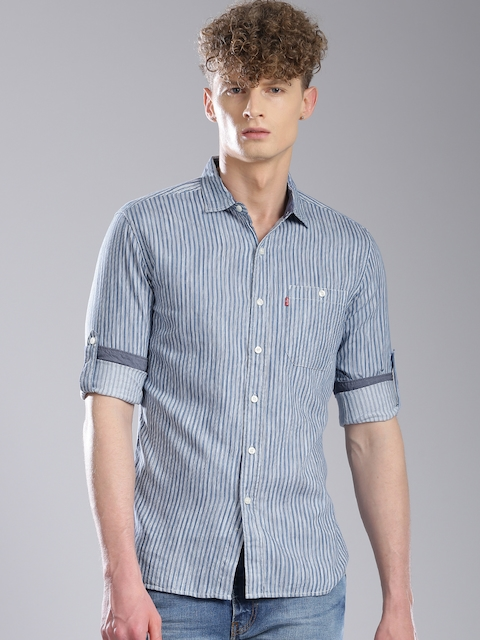 Levis Men Blue & White Striped Slim Fit Casual Shirt