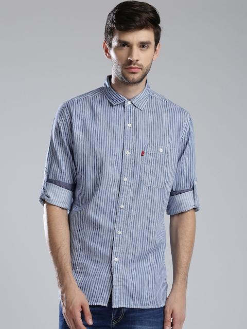 Levis Men Blue & White Striped Slim Fit Casual Shirt