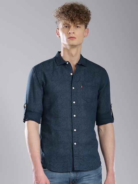 Levis Men Blue Slim Fit Printed Casual Shirt