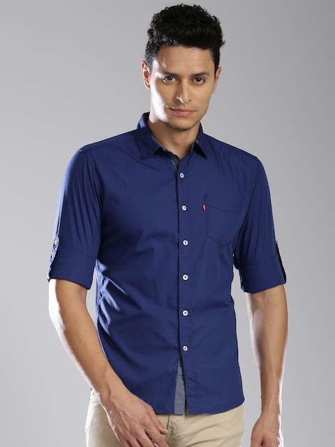 Levis Men Blue Slim Fit Solid Casual Shirt
