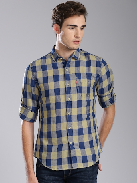 Levis Men Blue & Khaki Checked Slim Fit Casual Shirt