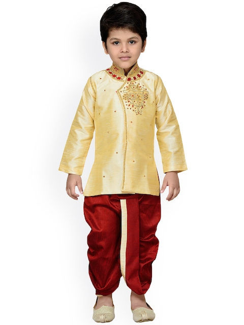 Aj DEZInES Boys Gold-Toned & Maroon Embellished Dhoti Set with Woven Design