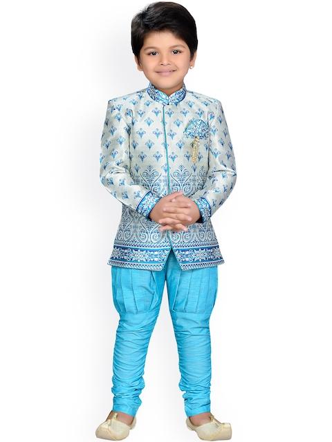 Aj DEZInES Boys Turquoise Blue & Grey Printed Sherwani