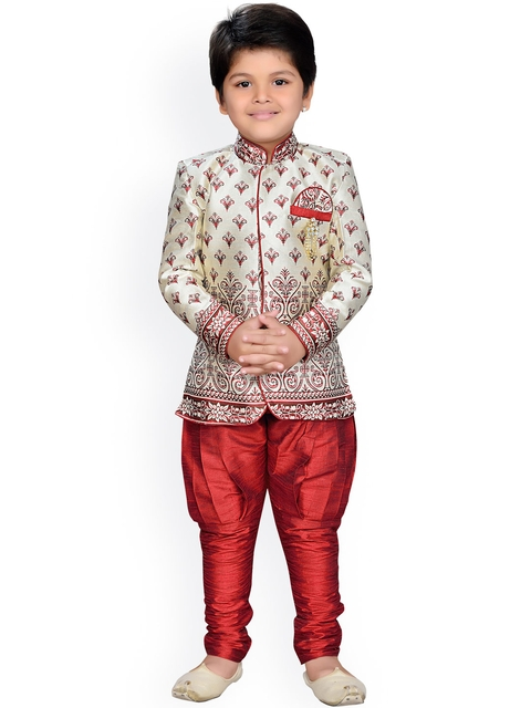 Aj DEZInES Boys Cream-Coloured & Maroon Printed Sherwani