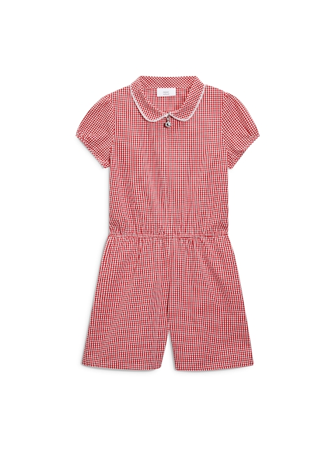 next Girls Red & White Checked Playsuit