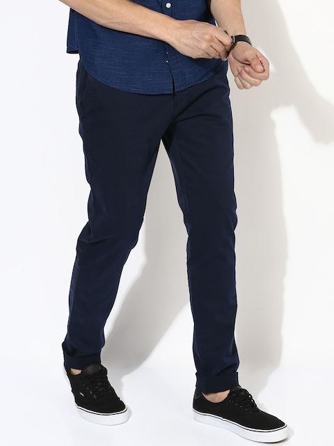 Aeropostale Men Navy Slim Fit Chino Trousers