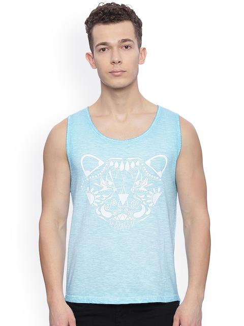 Breakbounce Men Blue Printed Slim Fit Sleeveless T-shirt