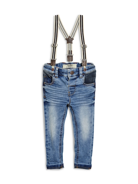 next Boys Blue Slim Fit Mid-Rise Jeans with Suspenders