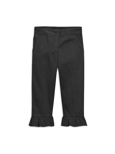 next Girls Charcoal Grey Straight Fit Trousers