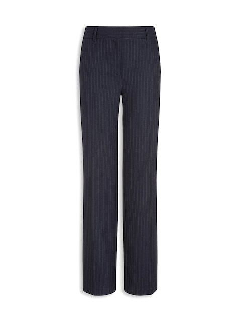 next Women Blue Striped Parallel Trousers