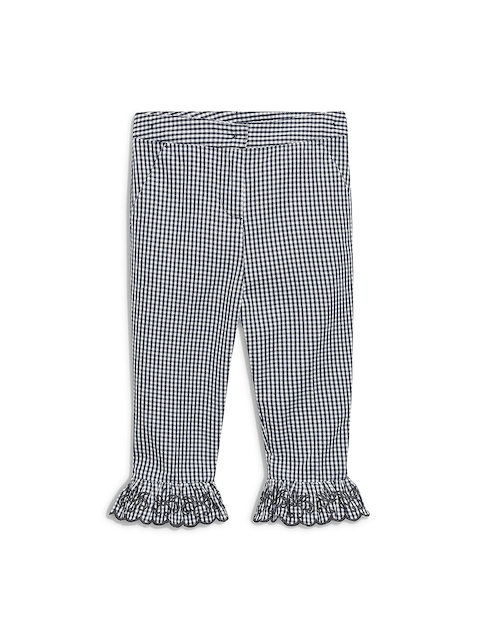 next Girls Grey & White Checked Straight Fit Trousers