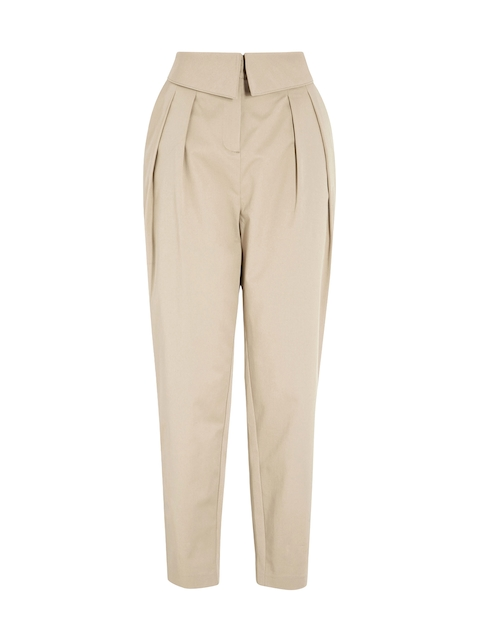 next Women Beige Peg Trousers