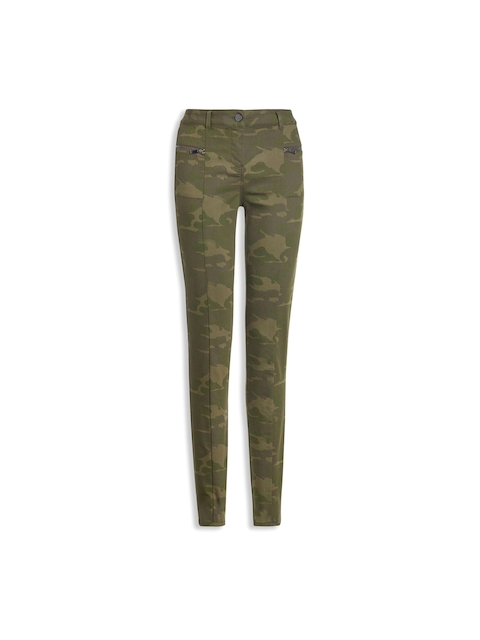 next Women Green Camouflage Print Cigarette Trousers