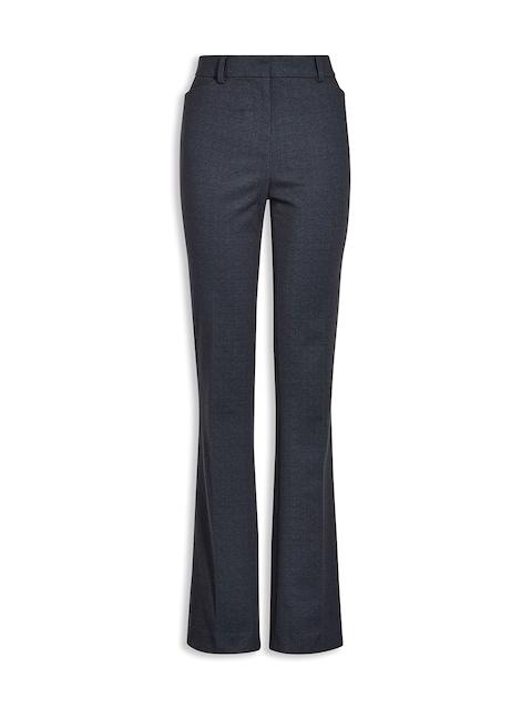 next Women Blue Striped Bootcut Trousers