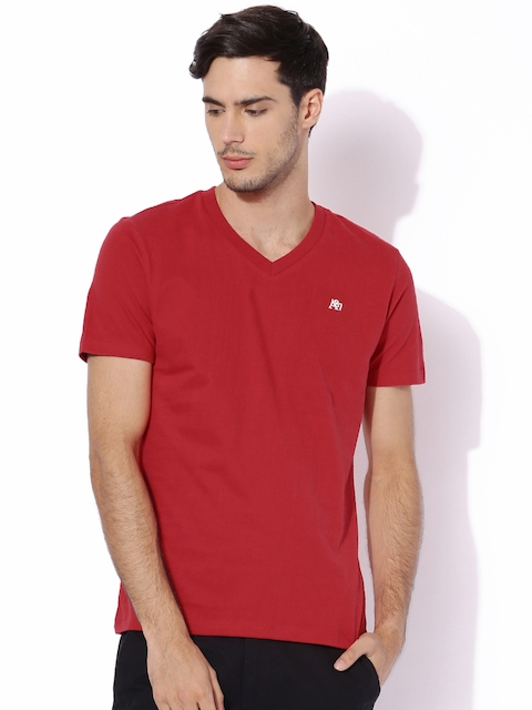 Aeropostale Men Red Solid T-shirt