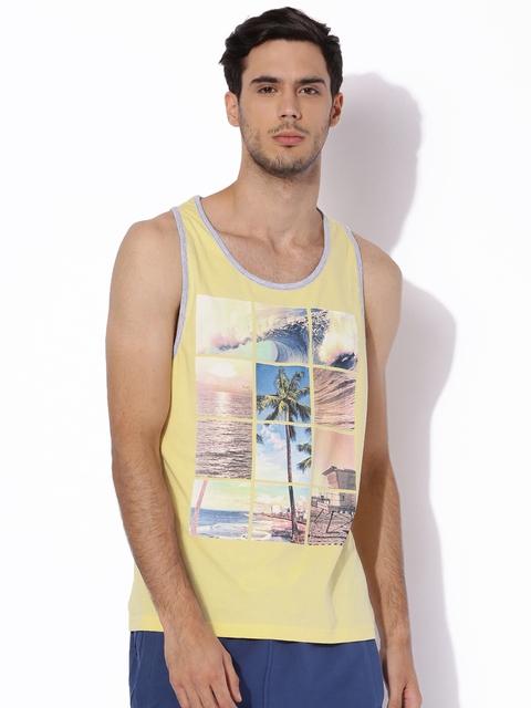 Aeropostale Yellow Printed Round Neck T-shirt