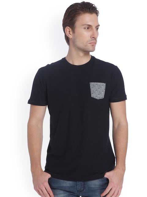 Mufti Men Black Solid Round Neck T-Shirt