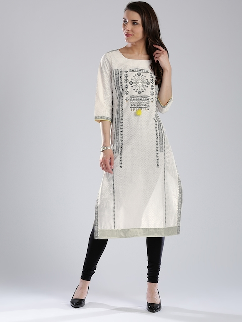 W Women Off-White & Black Printed Straight Kurta